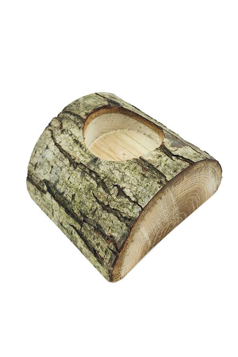 Ağaç Kütük Tealight Mumluk Yatay Kesimli Pakette 1 Adet