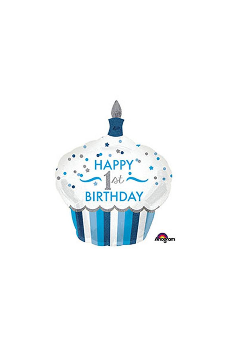 1 Yaş Erkek Cupcake SuperShape Folyo Balon 91cm 1 Adet
