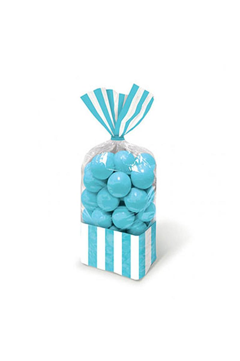 Bebek Mavisi Çizgili Şeker Poşeti 10lu