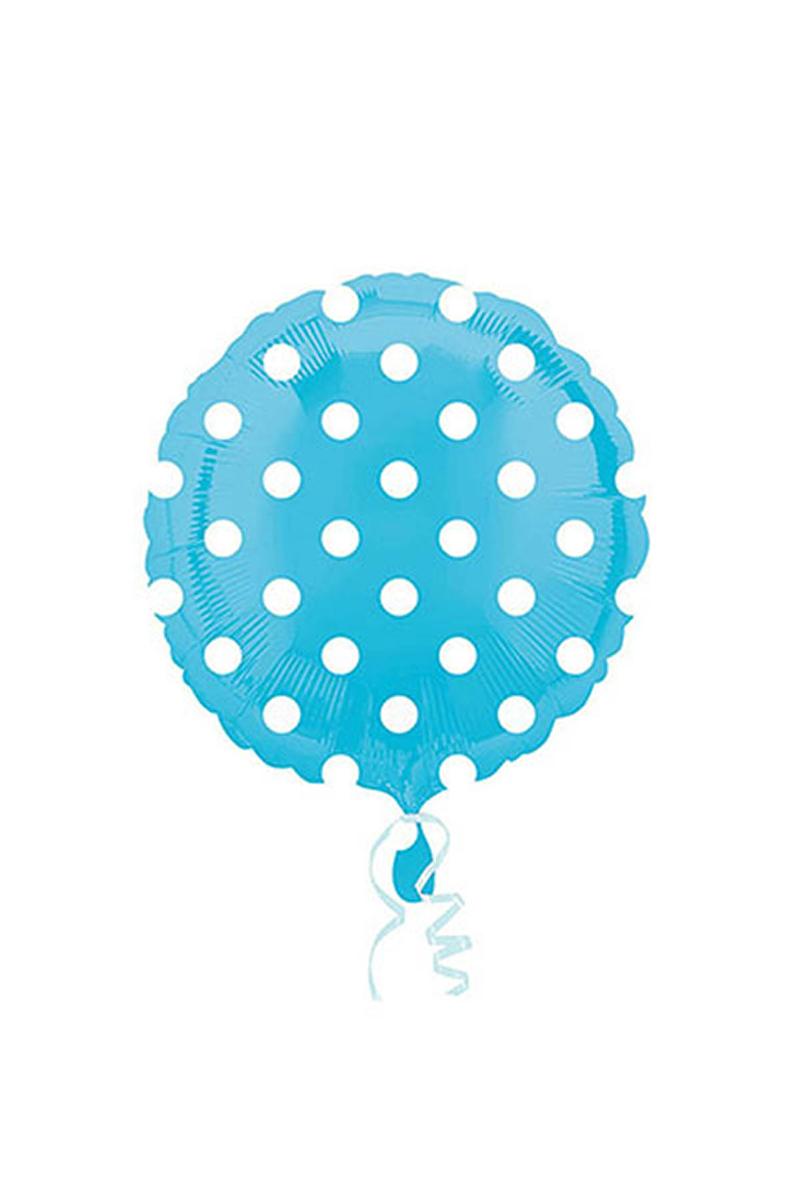 Bebek Mavisi Puantiyeli Folyo Balon 43cm 1 Adet