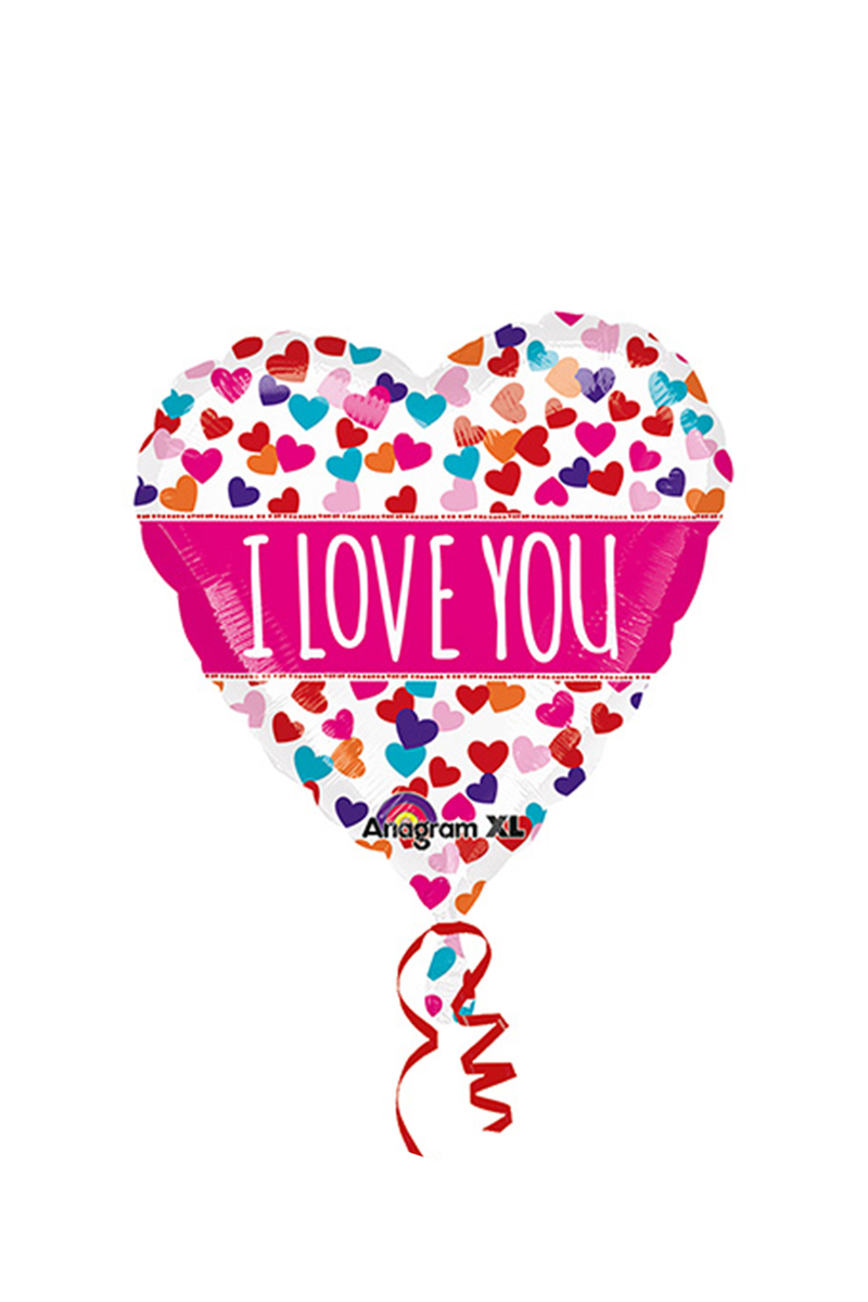I Love You Pembe Şeffaf Folyo Balon 66cm 1 Adet