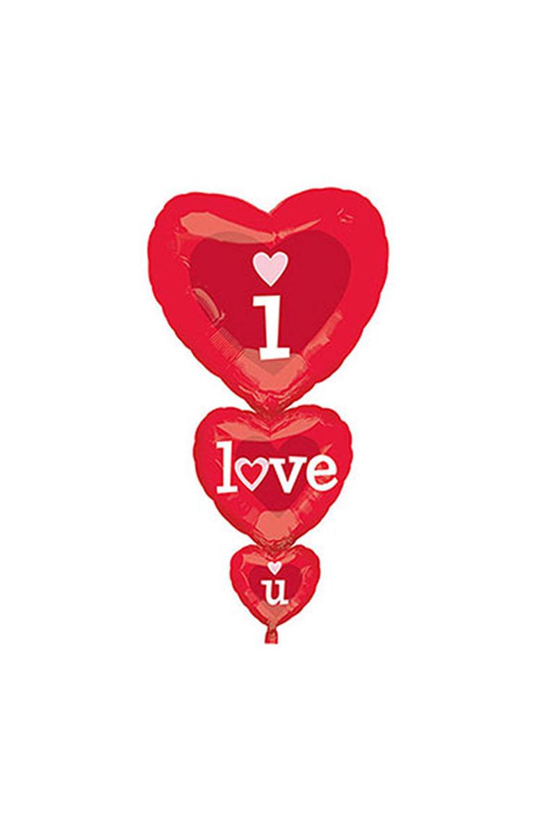 I Love You SuperShape 3 Set Folyo Balon 1 Adet