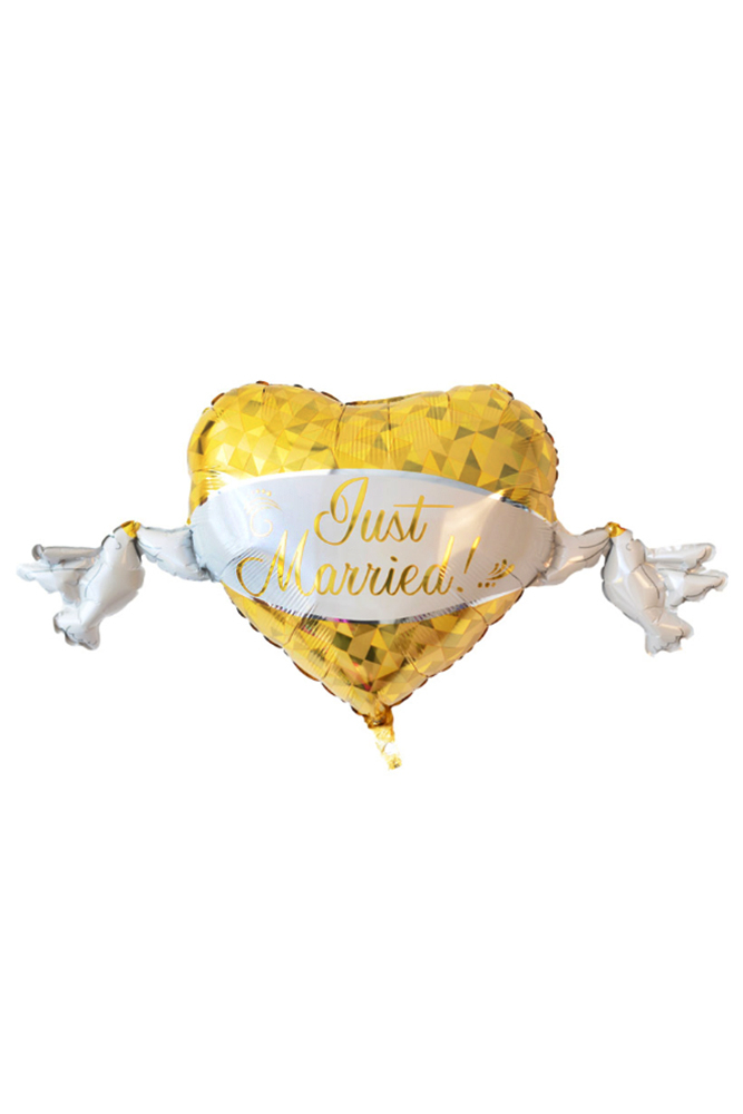 Just Married Super Shape Kalp Folyo Balon 104cm x 53cm 1 Adet