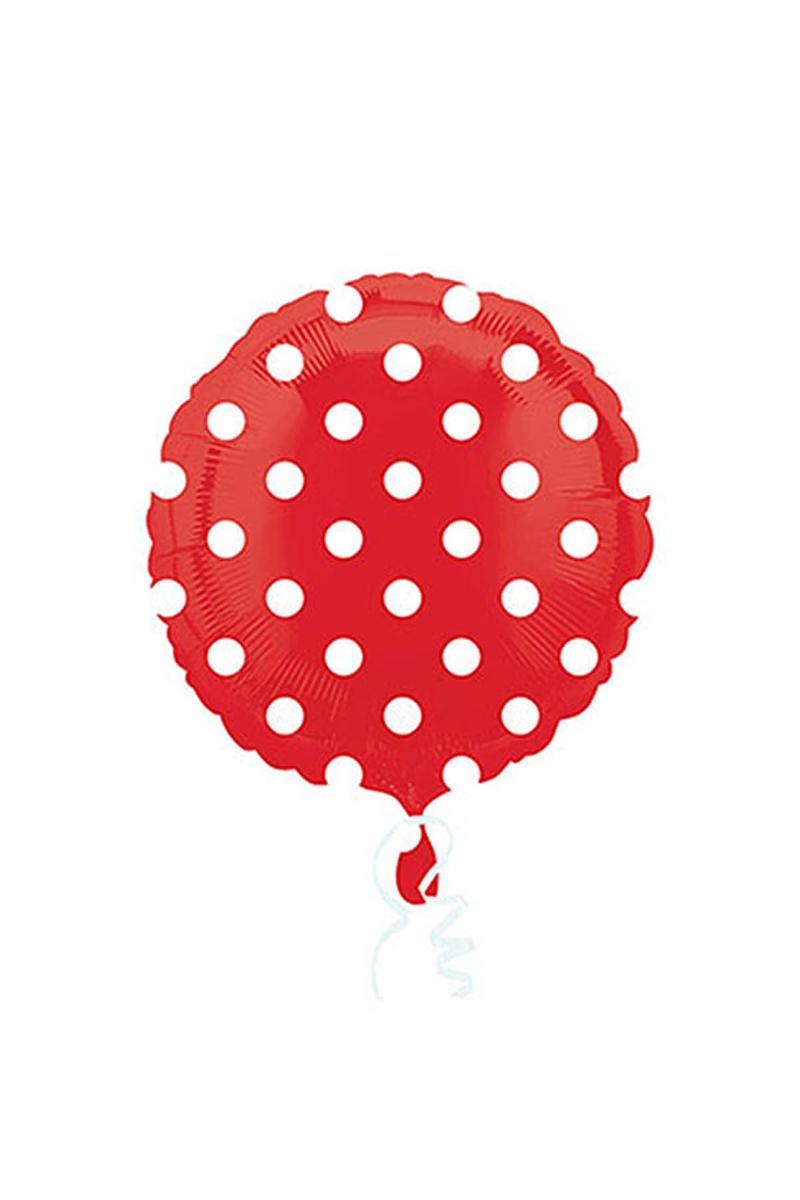 Kırmızı Puantiyeli Folyo Balon 43cm 1 Adet