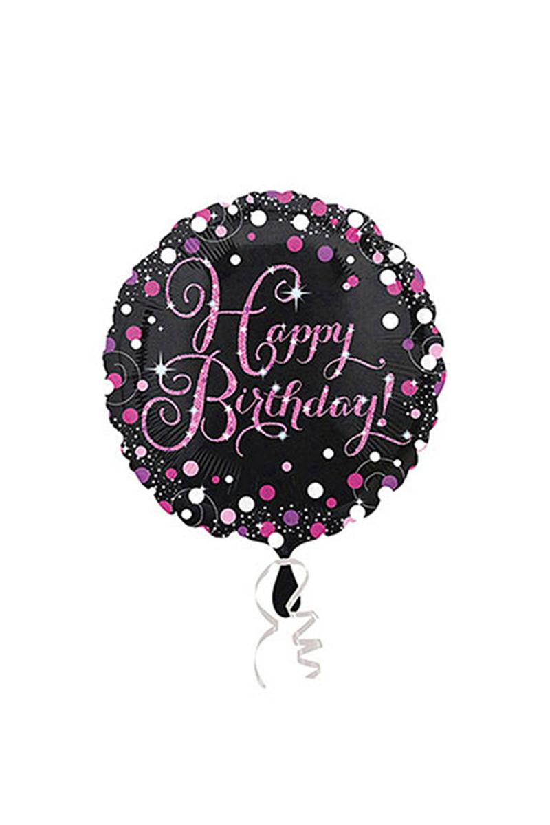 Pembe Işıltılı Kutlama Happy Birthday Folyo Balon 43cm 1 Adet