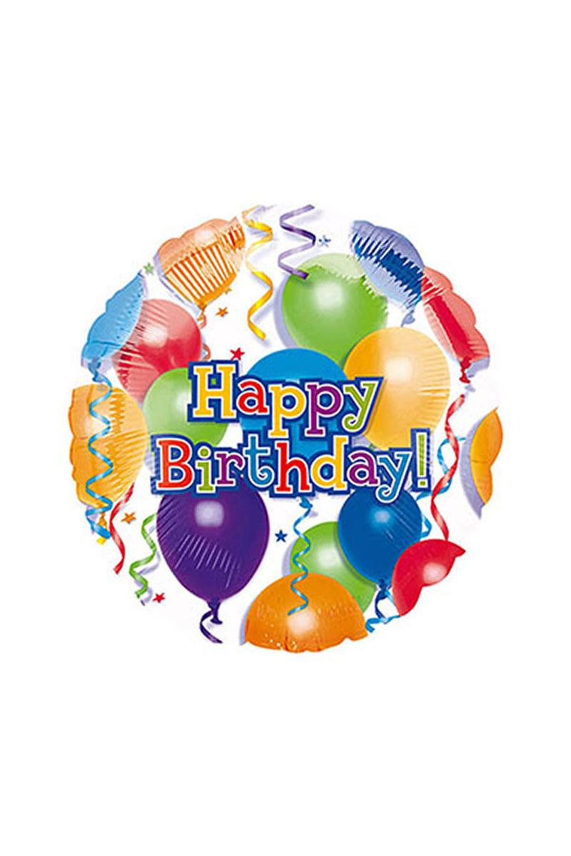 Rengarenk Balonlu Happy Birthday Folyo Balon 43cm 1 Adet
