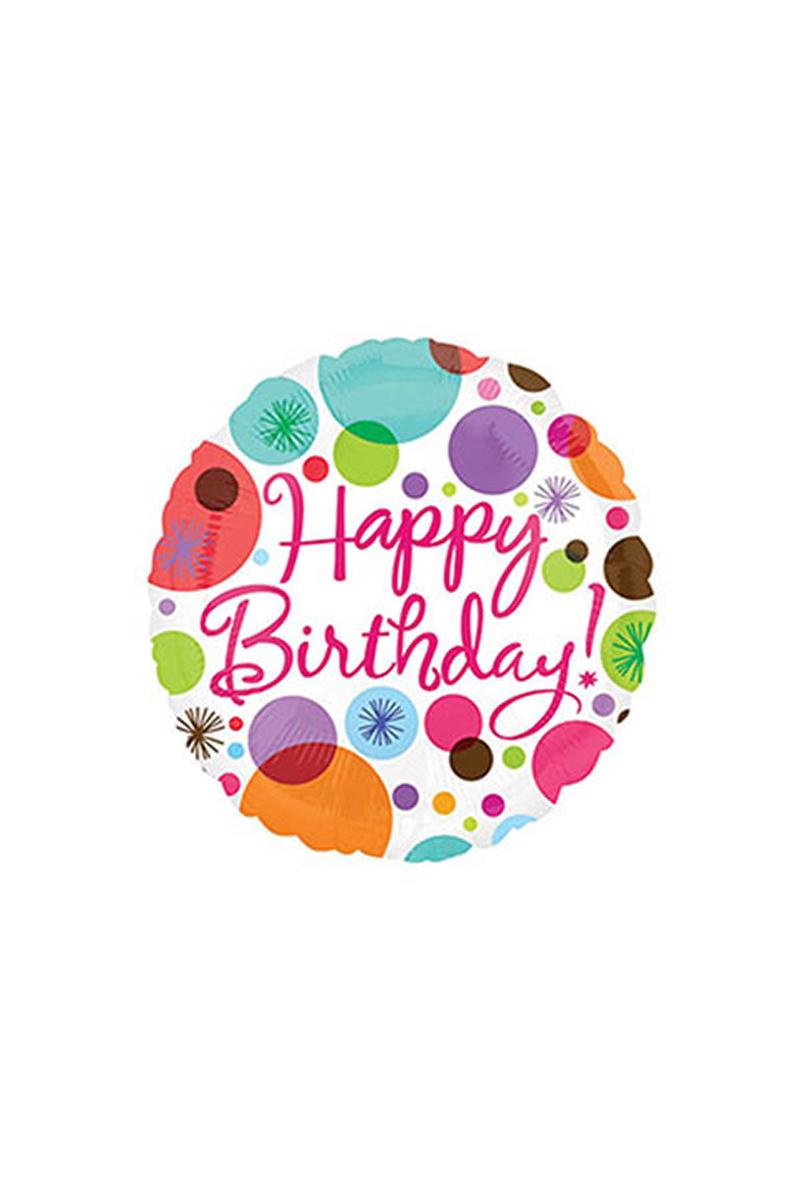 Rengarenk Puanlı Happy Birthday Folyo Balon 1 Adet