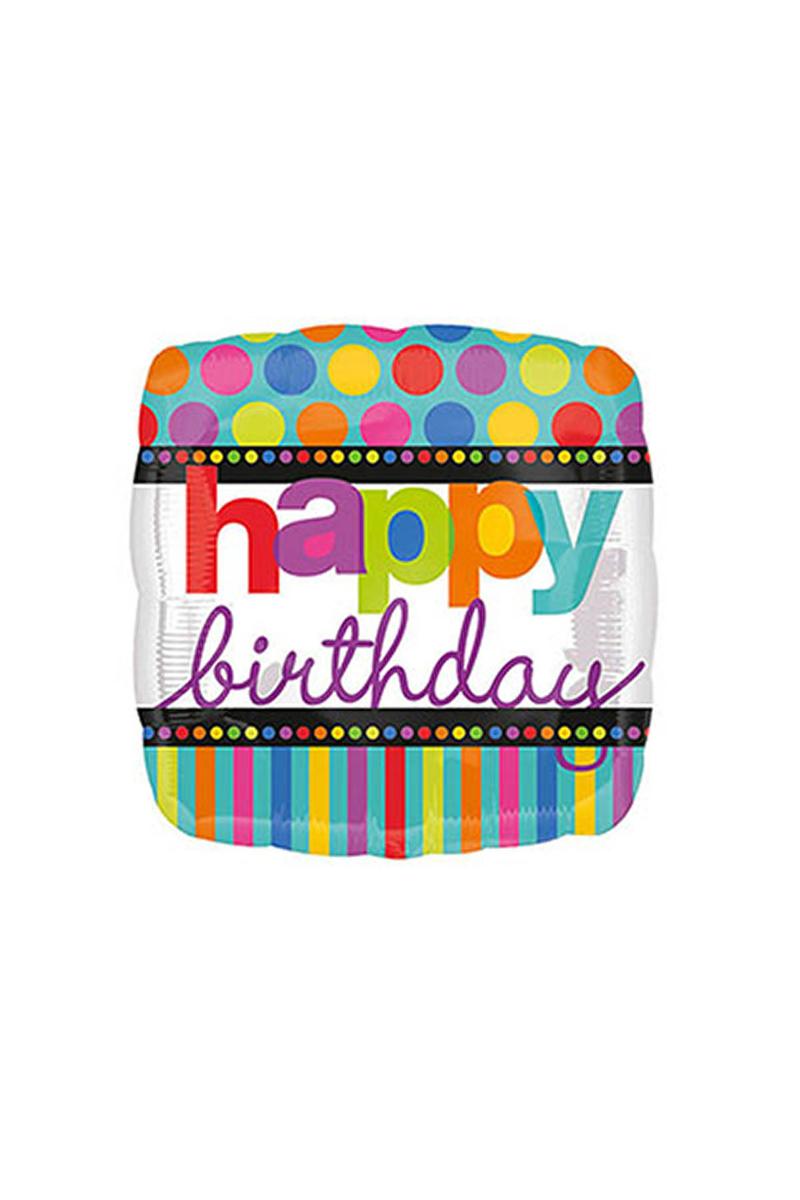 Renkli Puantiyeler Happy Birthday Folyo Balon 43cm 1 Adet
