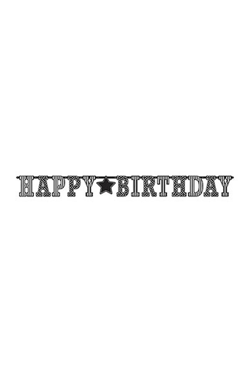 Siyah Beyaz Happy Birthday Harf Afiş 1 Adet