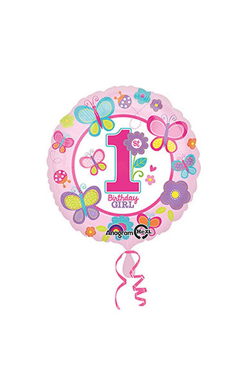 Tatlı 1 Yaş Kız Folyo Balon 43cm 1 Adet