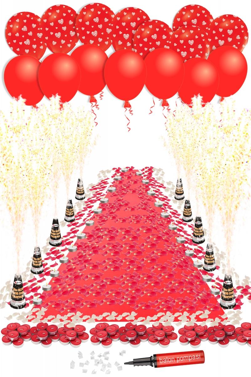 Aşk Yolu Kırmızı Halılı Lüks Dekorasyon Seti