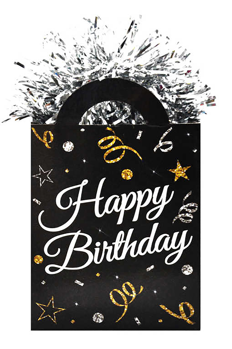 Happy Birthday Baskılı Balon Ağırlığı Siyah 6,5cm x 12cm 1 Adet
