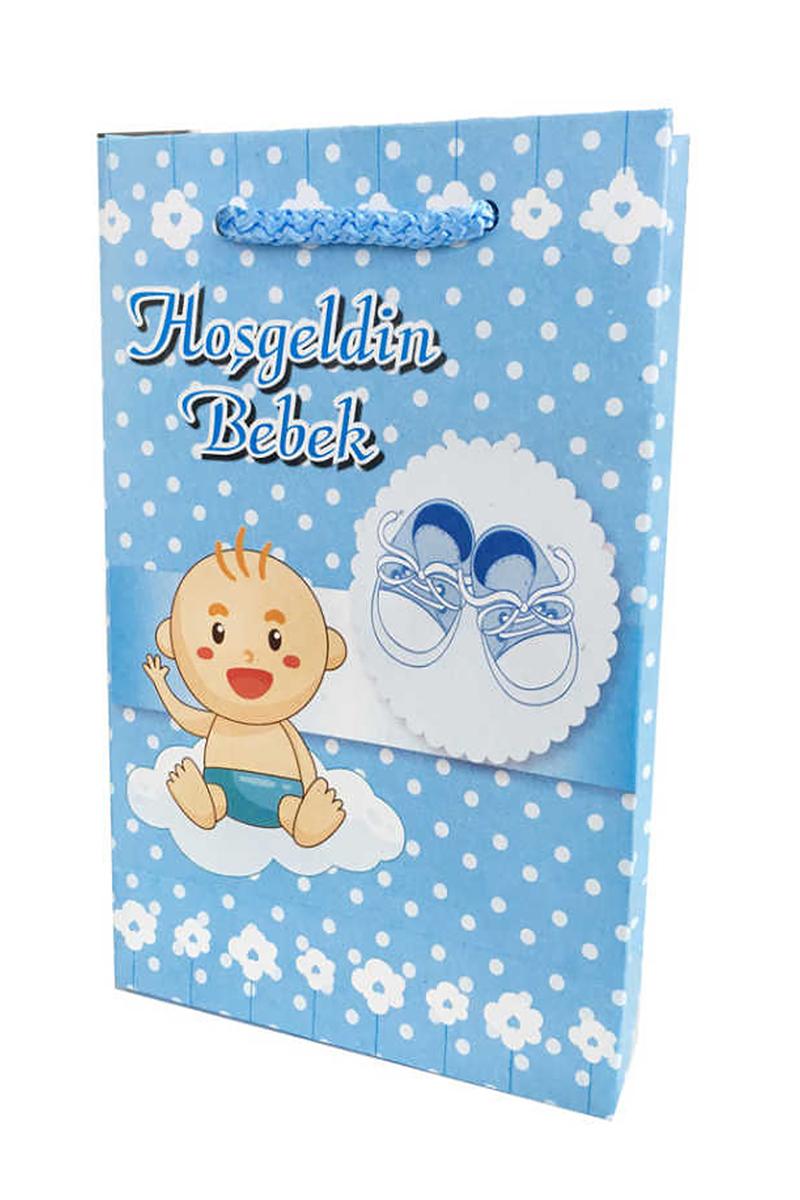 Çanta Karton 12X17 Hoşgeldin Bebek Mavi Pakette 25 Adet