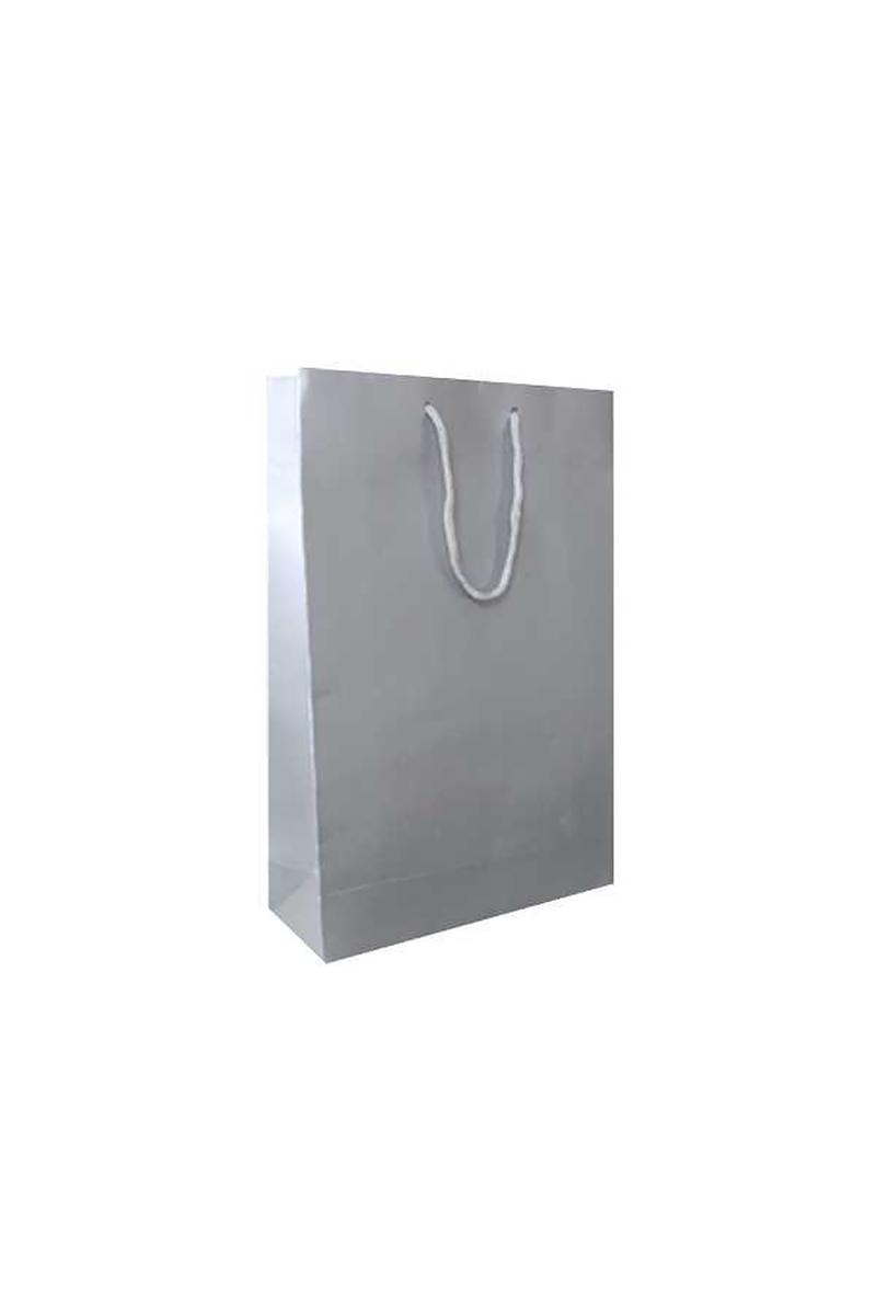Çanta Karton Küçük Boy Düz Renk Gümüş 12X17 Pakette 25 Adet