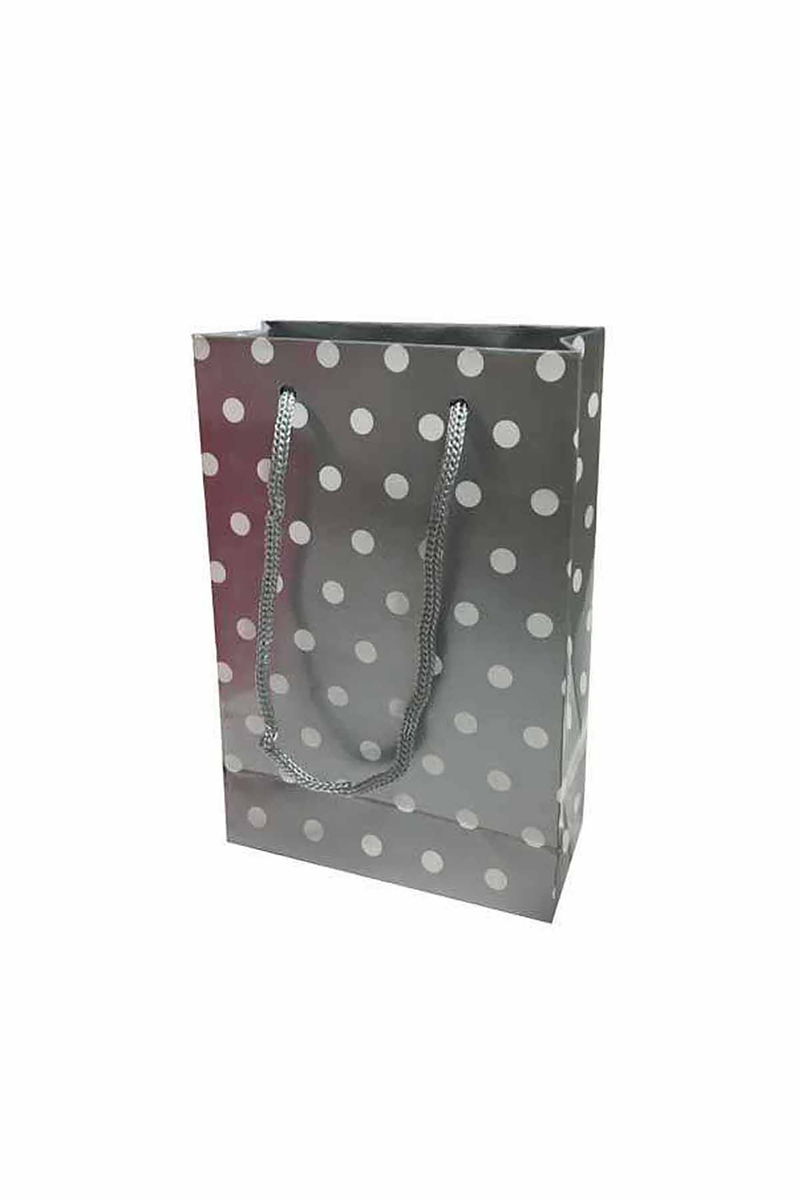 Gümüş Puantiyeli Küçük Karton Çanta 17cm x 12cm 25 li