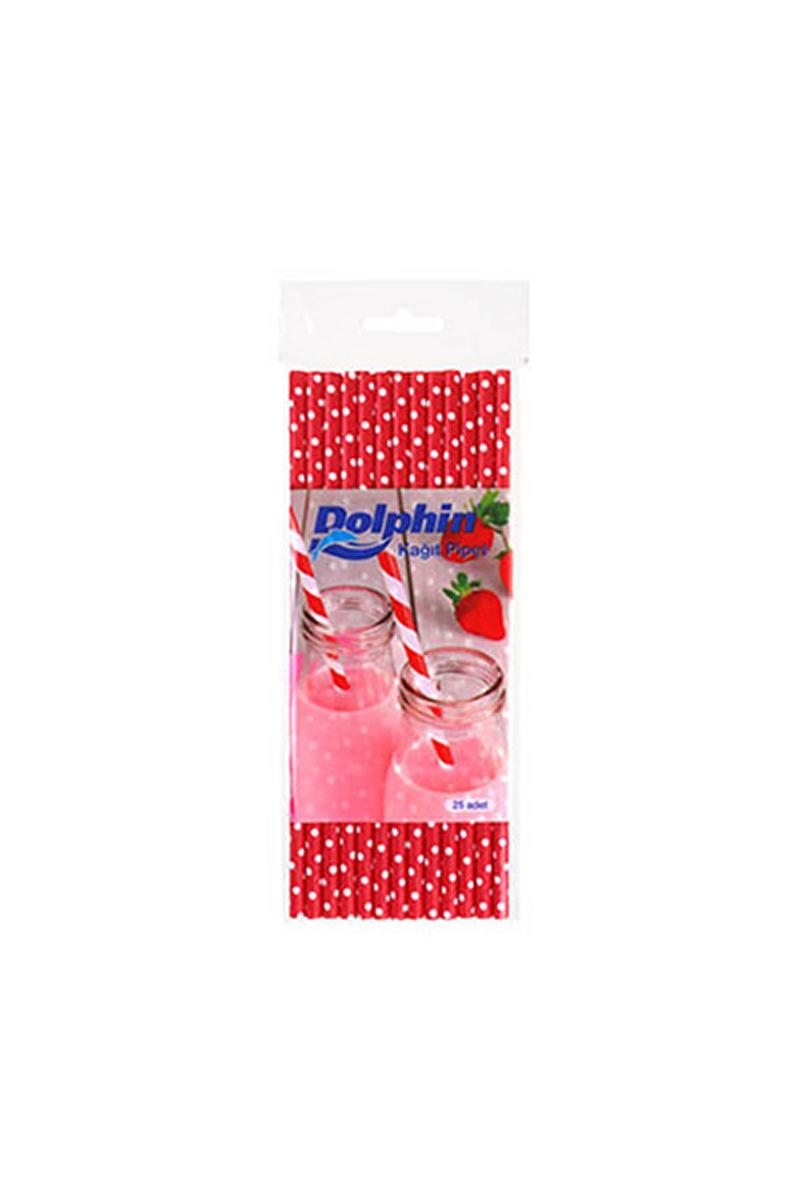 Dolphin Kağıt Pipet Beyaz Puantiyeli Kırmızı 20cm 25li