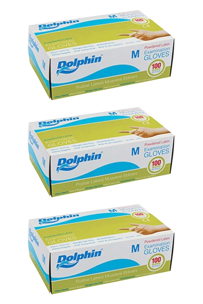 Dolphin Beyaz Lateks Eldiven Pudralı (M) 100lü Paket 3 Adet
