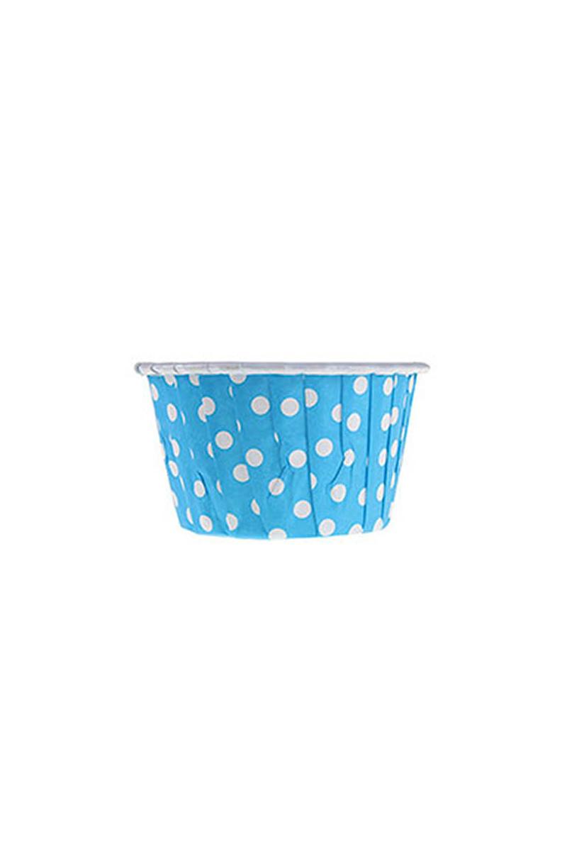 Dolphin Mavi Puantiyeli Muffin Kek Kapsülü 3,5x6,5cm 50li - Thumbnail