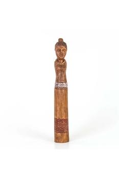 Ahşap Afrikalı Kadın Biblo Naturel Renk 8x8x62cm 1 Adet - Thumbnail