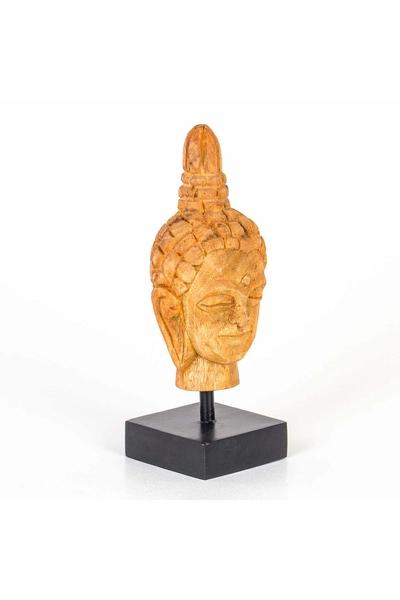Ahşap Buddha Büst Biblo Naturel Renk 12x10x29cm 1 Adet