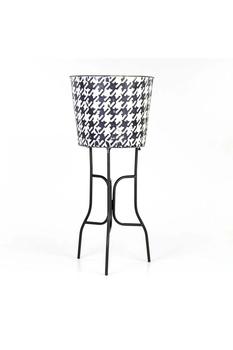 Metal Ayaklı Çiçeklik Siyah Beyaz Renk 31x25cm 1 Adet - Thumbnail