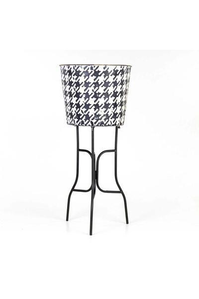 Metal Ayaklı Çiçeklik Siyah Beyaz Renk 31x25cm 1 Adet