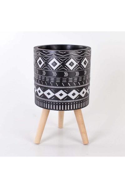 Metal Ayaklı Çiçeklik Siyah Beyaz Renk Desenli 29x51cm 1 Adet