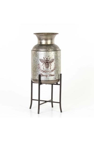 Metal Ayaklı Arı Desenli Vazo Gri Renk 20,5x53,5cm 1 Adet