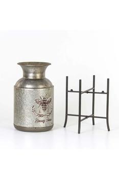 Metal Ayaklı Arı Desenli Vazo Gri Renk 20,5x53,5cm 1 Adet - Thumbnail
