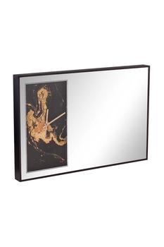Ahşap Çerçeveli Aynalı Duvar Saati Siyah Renk 60x40cm 1 Adet - Thumbnail