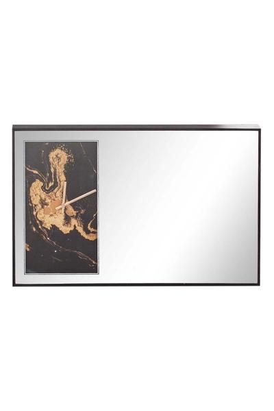 Ahşap Çerçeveli Aynalı Duvar Saati Siyah Renk 60x40cm 1 Adet