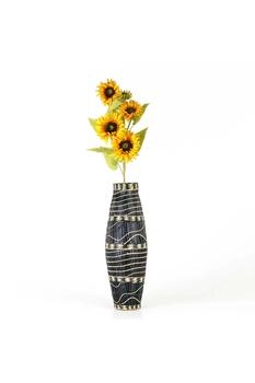 Bambu Vazo Siyah Beyaz 58cm 1 Adet - Thumbnail