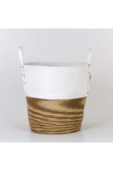 Hasır Kulplu Yuvarlak Sepet Saksu Beyaz Naturel Renk 40x39cm 1 Adet - Thumbnail