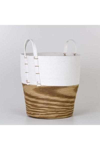 Hasır Kulplu Yuvarlak Sepet Saksu Beyaz Naturel Renk 40x39cm 1 Adet