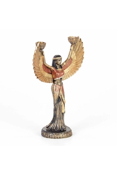 Metal İsis Figürlü İkili Şamdan Bronz Renk 24x10x31cm 1 Adet - Thumbnail
