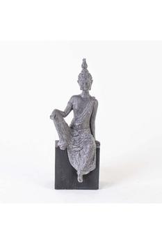 Polizeren Oturan Budha Biblosu Gri Renk 15x12x38cm 1 Adet - Thumbnail