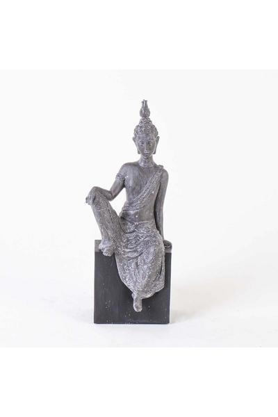 Polizeren Oturan Budha Biblosu Gri Renk 15x12x38cm 1 Adet