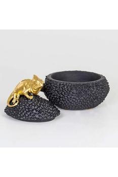 Polizeren Bukalemun Kapaklı Kutu Siyah Altın Renk 20x15x20cm 1 Adet - Thumbnail