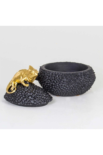 Polizeren Bukalemun Kapaklı Kutu Siyah Altın Renk 20x15x20cm 1 Adet