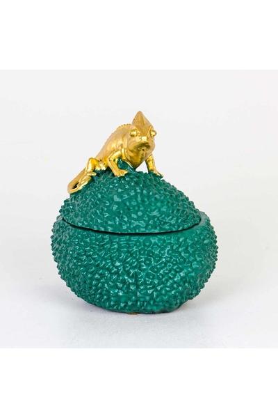 Polizeren Bukalemun Kapaklı Kutu Yeşil Altın Renk 20x15x20cm 1 Adet