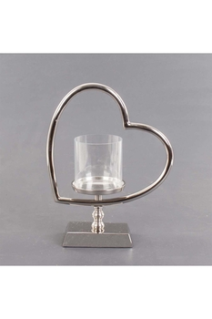 Metal Kalp Standlı Cam Mumluk 27x12x34cm 1 Adet - Thumbnail