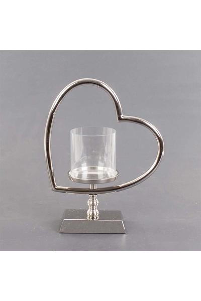 Metal Kalp Standlı Cam Mumluk 27x12x34cm 1 Adet