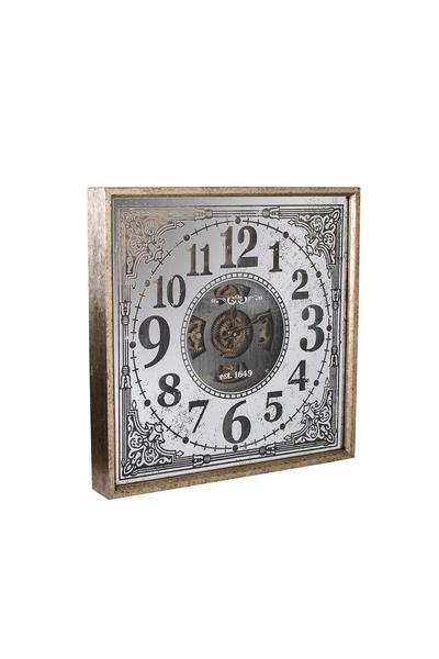 Ahşap Çarklı Duvar Saati Bakır Renk 60x60cm 1 Adet