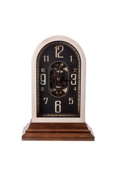 Ahşap Çarklı Masa Saati Kule Bakır Kenk 34x17x48cm 1 Adet - Thumbnail