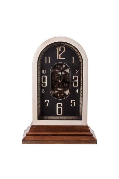 Ahşap Çarklı Masa Saati Kule Bakır Kenk 34x17x48cm 1 Adet