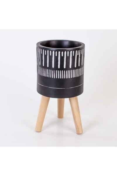 Ahşap Ayaklı Çizgi Desenli Çiçeklik Siyah Renk 22x41cm 1 Adet