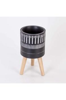 Ahşap Ayaklı Çizgi Desenli Çiçeklik Siyah Renk 22x41cm 1 Adet - Thumbnail