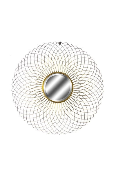 Metal Dekoratifli Yuvarlak Ayna Altın Renk 85cm 1 Adet