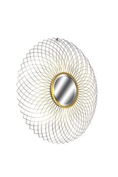 Metal Dekoratifli Yuvarlak Ayna Altın Renk 85cm 1 Adet - Thumbnail