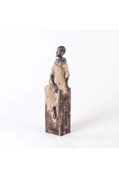 Polirezen Afrikalı Kadın Biblo Krem Renk 9x9x35cm 1 Adet